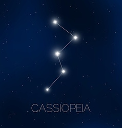 Cassiopeia constellation in night sky vector image