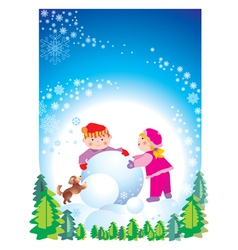 christmas happy children vector image vector image