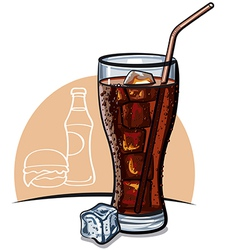 Cola with ice vector