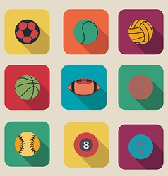 Collection of sport ball icon flat design vector image vector image