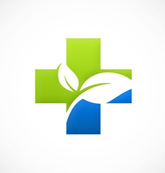 cross medical bio ecology logo vector image vector image