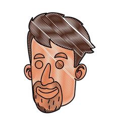 Drawing avatar face man beard mustache vector