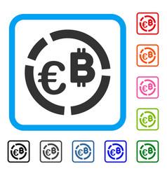 Euro bitcoin diagram framed icon vector
