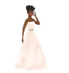 Fiancee talking on a mobile phone vector