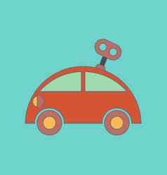 flat icon on background kids toy car with key vector image vector image
