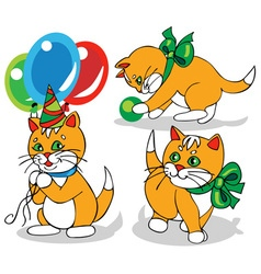 ginger kitten with a bow vector image vector image