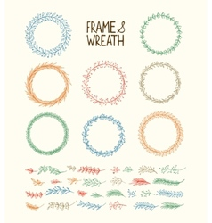 Hand drawn frame and wreath vector image vector image