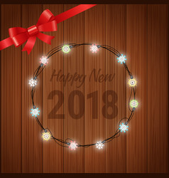 Happy new 2018 year greeting card with garland vector