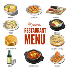 Korean cuisine traditional dishes flat icons vector