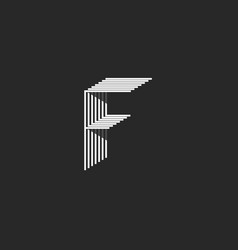 letter f logo black and white many thin lines vector image vector image