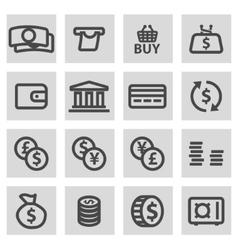 Line money icons set vector