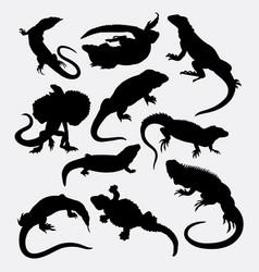 lizard reptilian animal silhouette vector image vector image