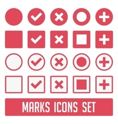 Marks icons set red vector image vector image