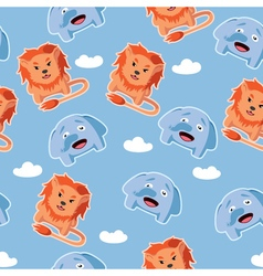 Seamless pattern with lion and elephant vector