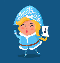 snow maiden in warm winter cloth with music sign vector image