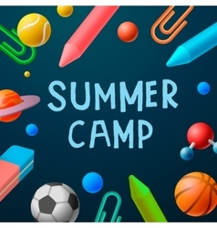 Themed Summer Camp 2016 poster sport games vector image