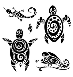 Turtle tribal tattoo set vector