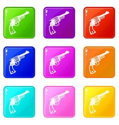 Vintage revolver set 9 vector