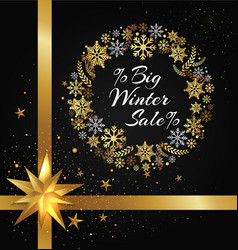 Winter sale poster in frame made of snowflakes vector