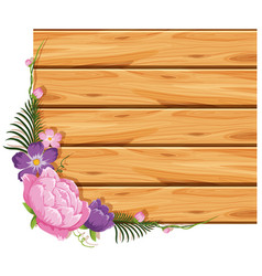 wooden board with pink and purple flowers vector image