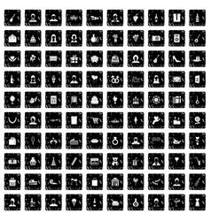 100 birthday icons set grunge style vector