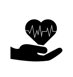 Sheltering hands and heart cardiogram icon vector