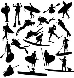 Canoe silhouette surfing and diving vector image