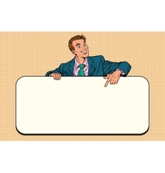 Smiling businessmen presenting empty board vector
