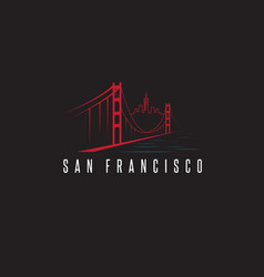 San francisco skyline and golden gate bridge vector