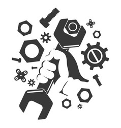 Wrench in hand silhouette vector