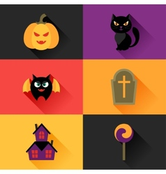 Happy halloween icon set in flat design style vector