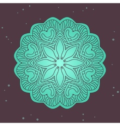 Green ethnics mandala on broun background vector