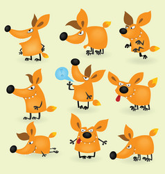 Funny cartoon fox set vector