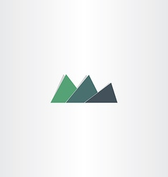 Green mountain icon abstract logo design vector