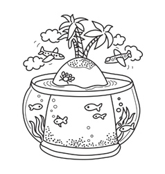 Paradise island in fish tank vector