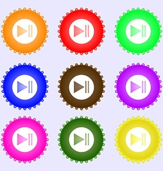 Play button icon a set of nine different colored vector