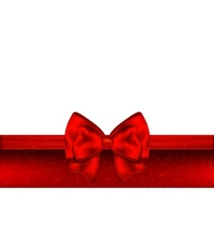 Holiday red background with gift bow and ribbon vector