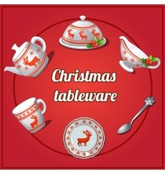 Christmas set of dishes 6 elements with reindeer vector