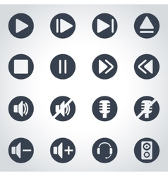 Black sound icon set vector