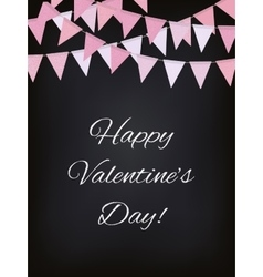 Background with pink flag garlands for valentines vector