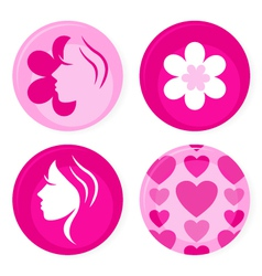 pink female badges vector image