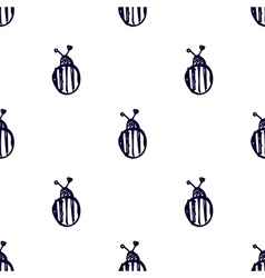 Pattern with colorado beetle on the white backdrop vector