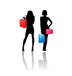 Silhouette girls shopping vector