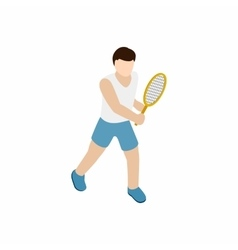 Man playing tennis with tennis racket icon vector