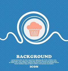 Cake icon sign blue and white abstract background vector