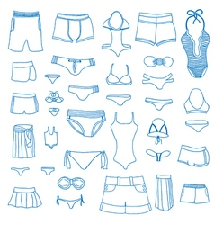 Summer clothing icons vector