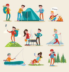 Backpacking and camping tourism set vector