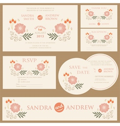 Beautiful vintage wedding invitation cards vector image vector image