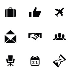 business 9 icons set vector image