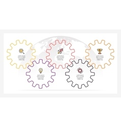 Business infographics timeline with 5 gears vector